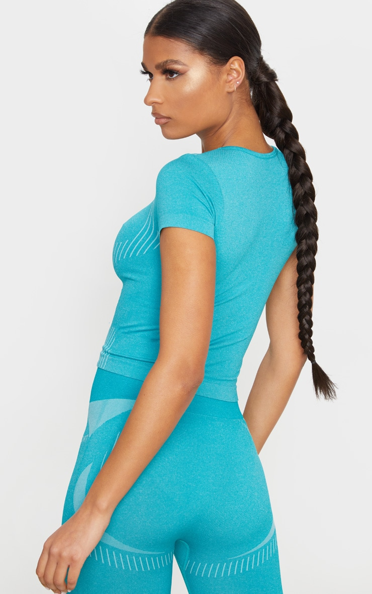 PRETTYLITTLETHING Turquoise Sport Seamless Contour T-Shirt 2