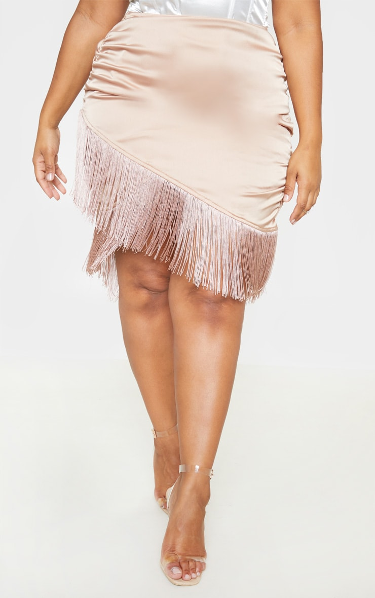 Plus Dusty Pink Satin Ruched Side Tassel Bodycon Skirt  2