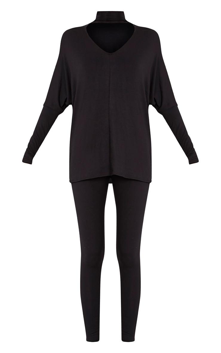 Kaia Black Choker Detail Oversized Top & Leggings Set  3