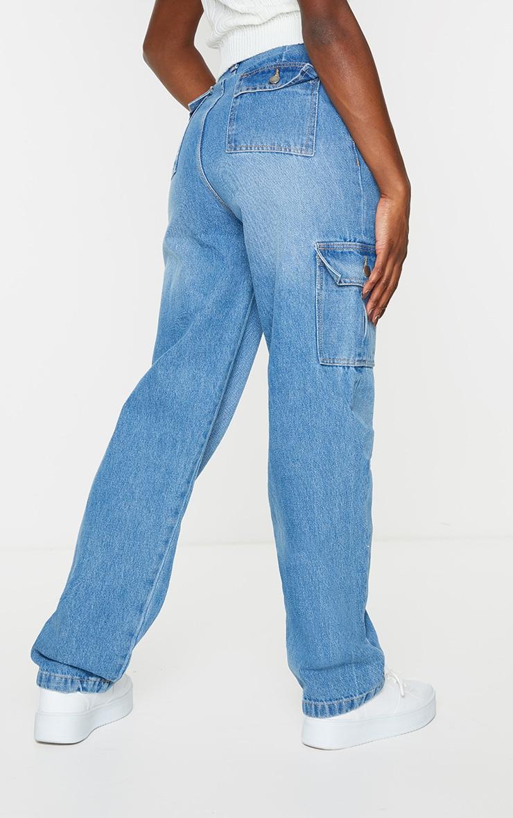 Vintage Wash  Wide Leg Cargo Pocket Jeans 3