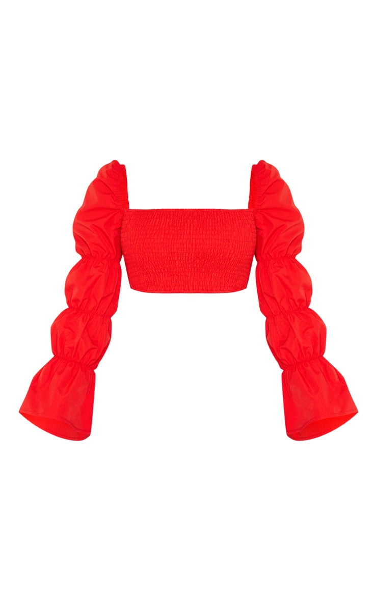Crop top rouge à manches longues froncées 3