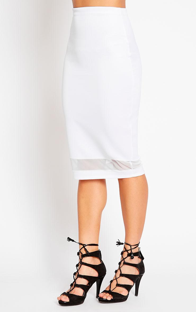 Tameka White Scuba Mesh Midi Skirt 3