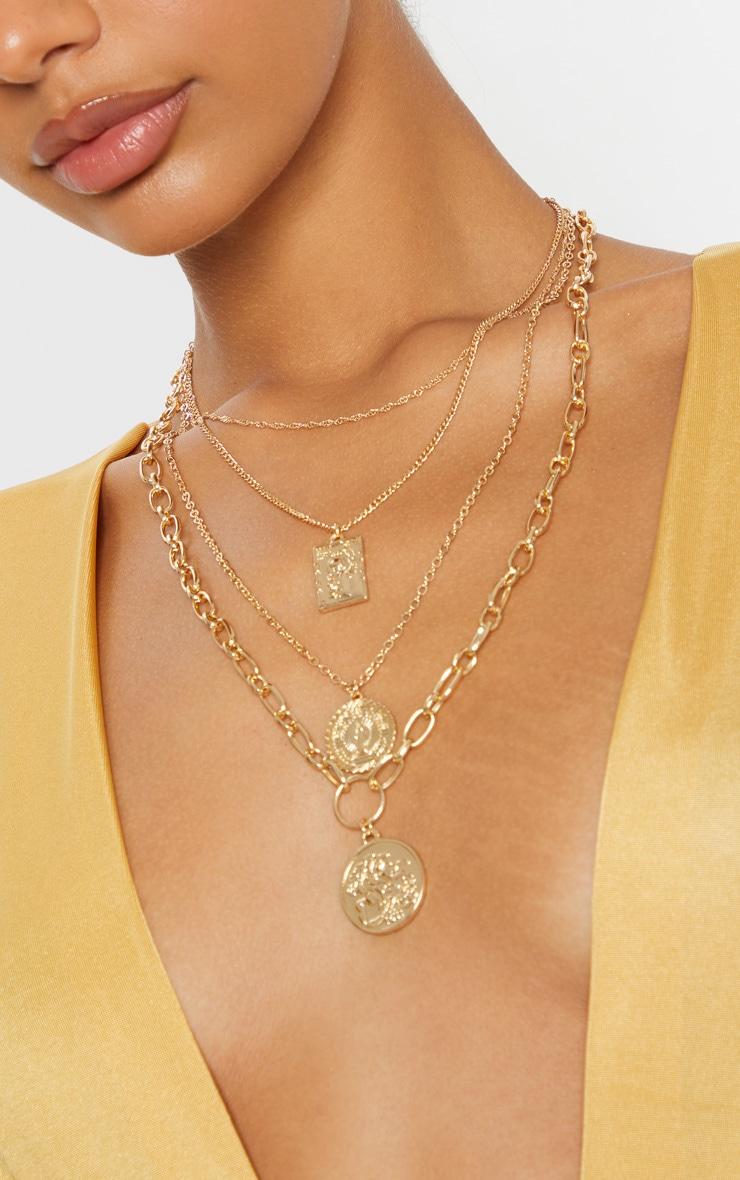 Gold Multi Pendant Layering Necklace 1