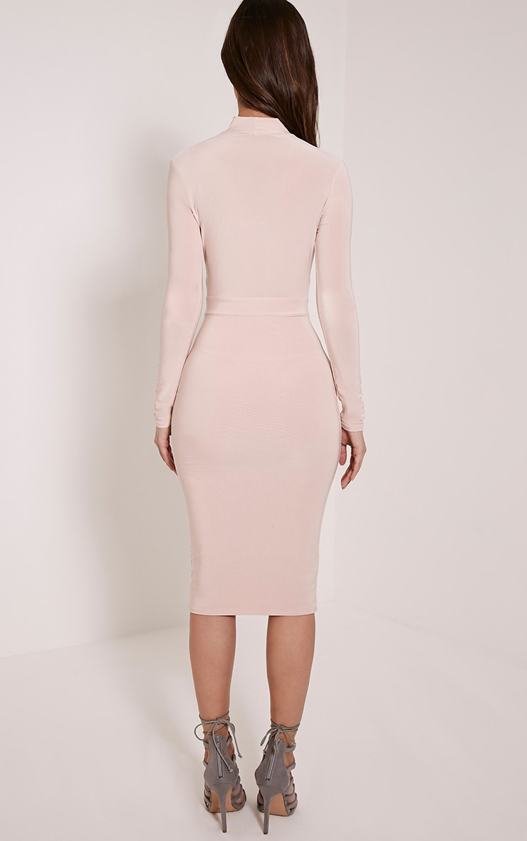 Nadeena Nude Neck Detail Cut Out Midi Dress 2
