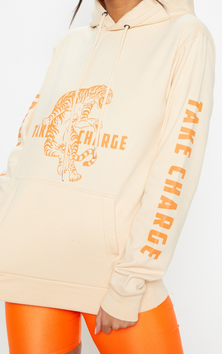 Sand Take Control Slogan Oversized Hoodie 5