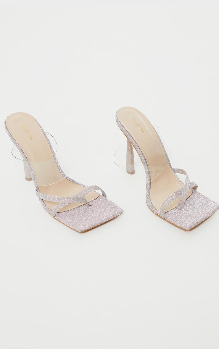 Sliver Glitter Square Toe Strap Clear Vamp Strap Heeled Mules 3