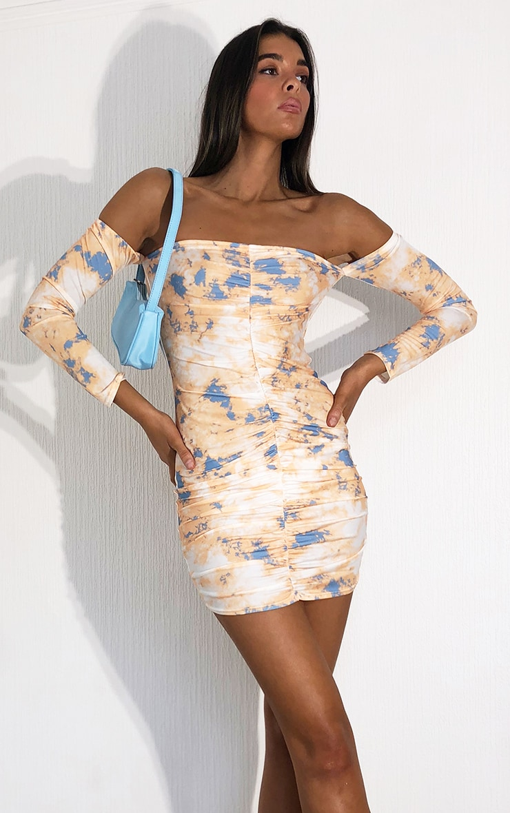 Multi Tie Dye Slinky Ruched Bardot Bodycon Dress 1