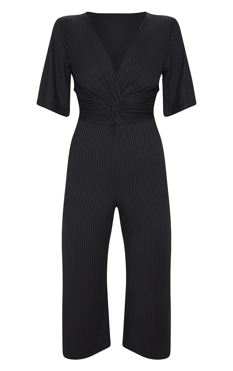 Black Ribbed Twist Detail Culotte Jumpsuit 3