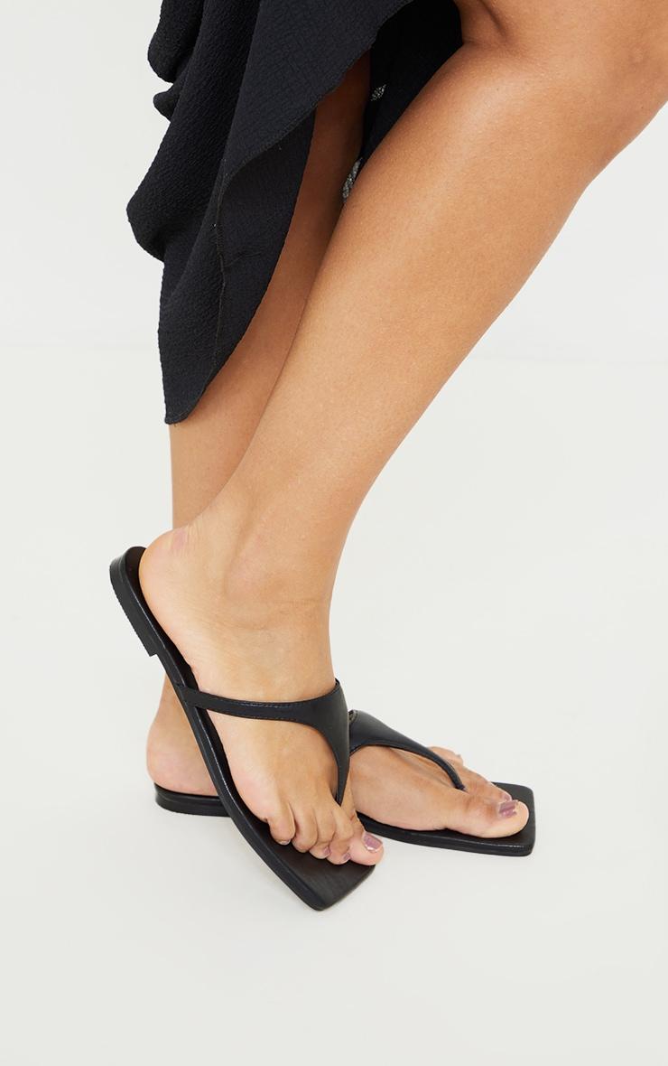 Black Square Toe High Flip Flop Strap Sandals 2