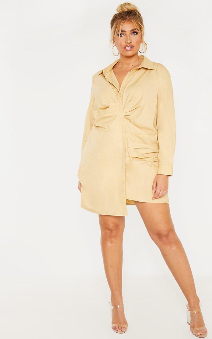 Plus Stone Pleat Detail Shirt Dress 1