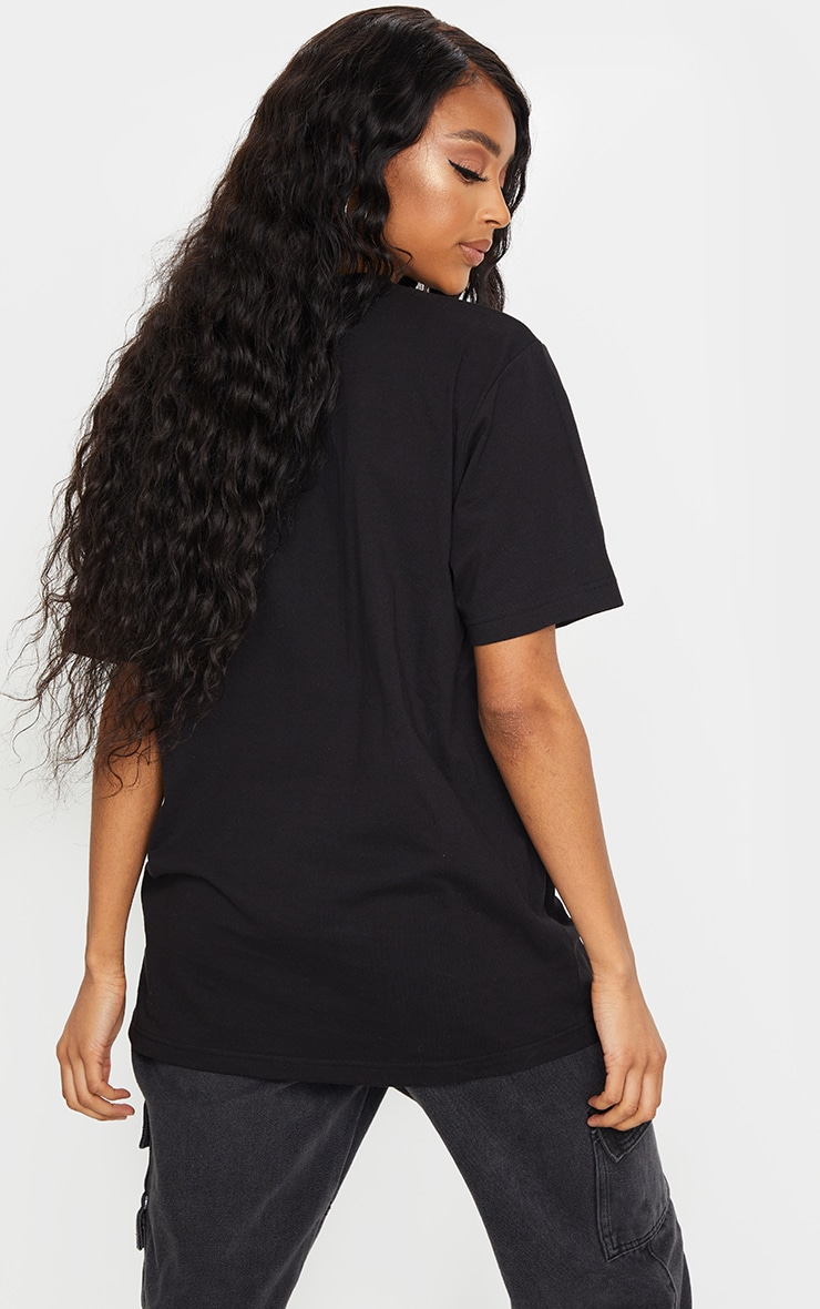 PRETTYLITTLETHING Black Contrast Embroidered T Shirt 2