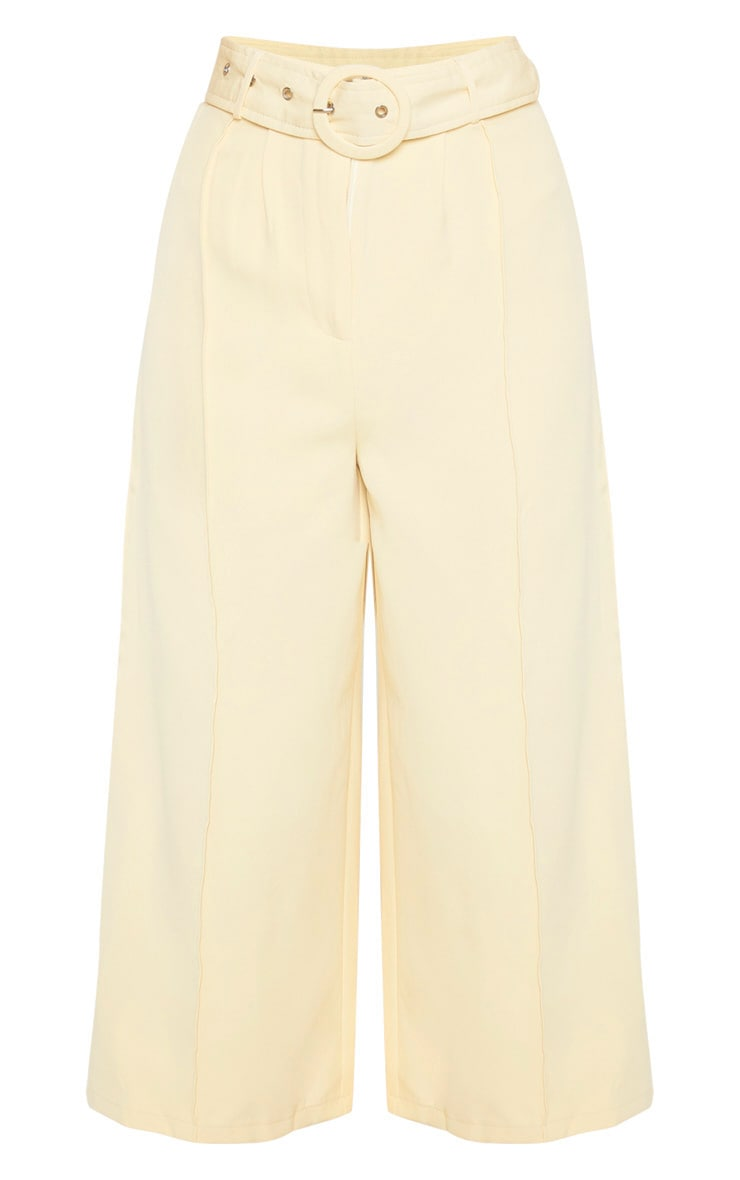 Tall Cream Circle Belt Wide Leg Culottes 3
