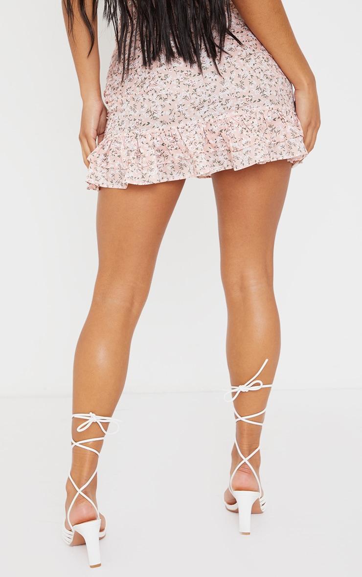 Baby Pink Printed Ruched Frill Hem Mini Skirt 3