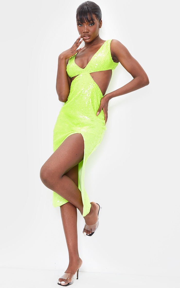 Tall Lime Sequin Cut Out Dress 1
