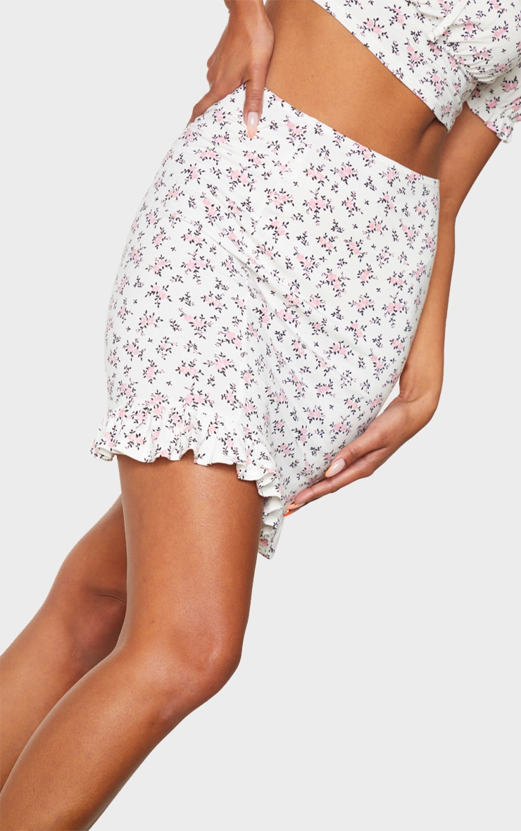 White Printed Jersey Frill Hem Mini Skirt 5