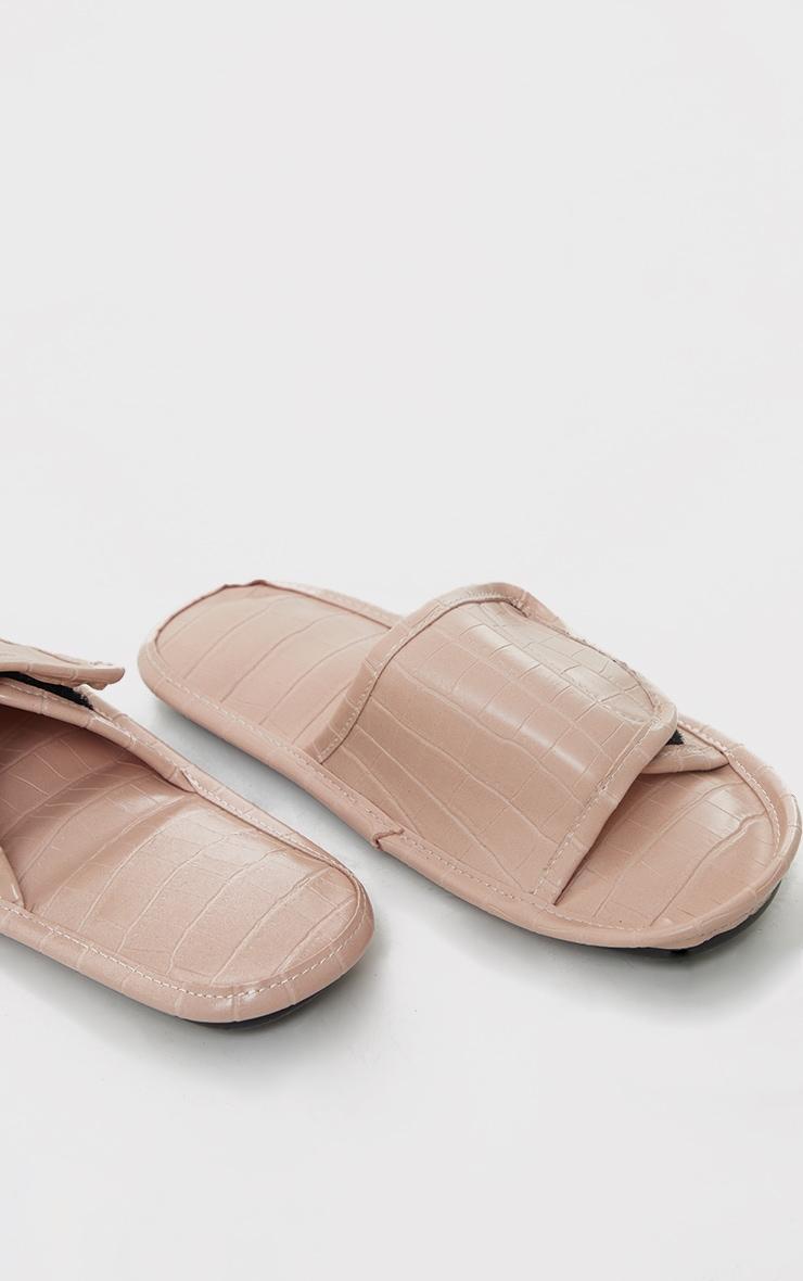 Beige PU Croc Velcro Slides 4