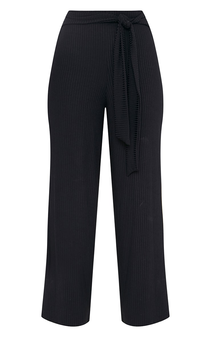 Karrah Black Wide Leg Tie Front Ribbed Pants 3