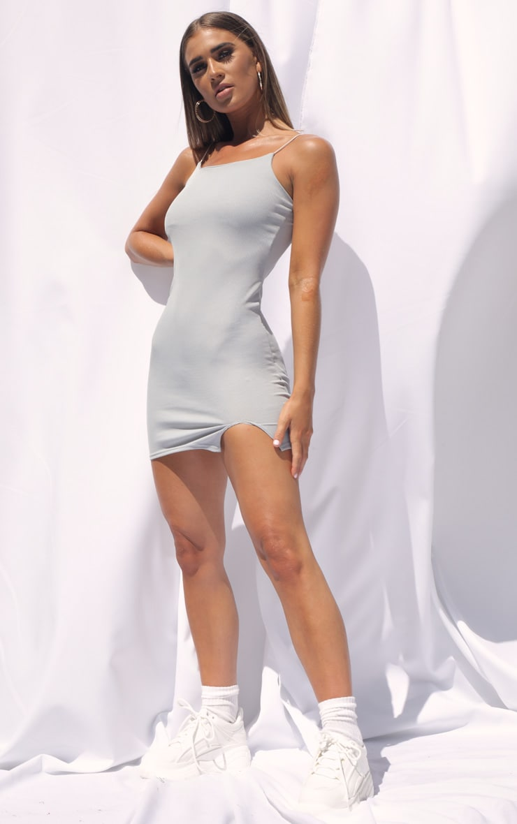 Grey Rib Strappy Bodycon Dress 3