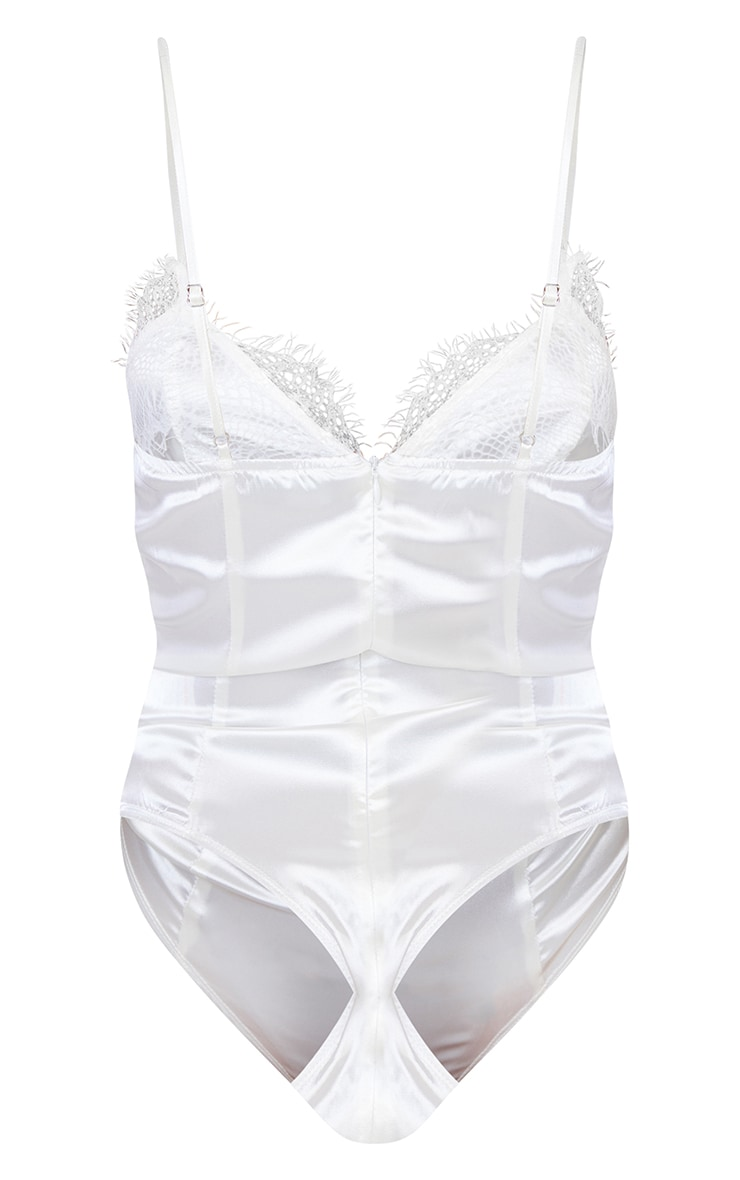 Cream Eyelash Lace Trim Thong Bodysuit  6