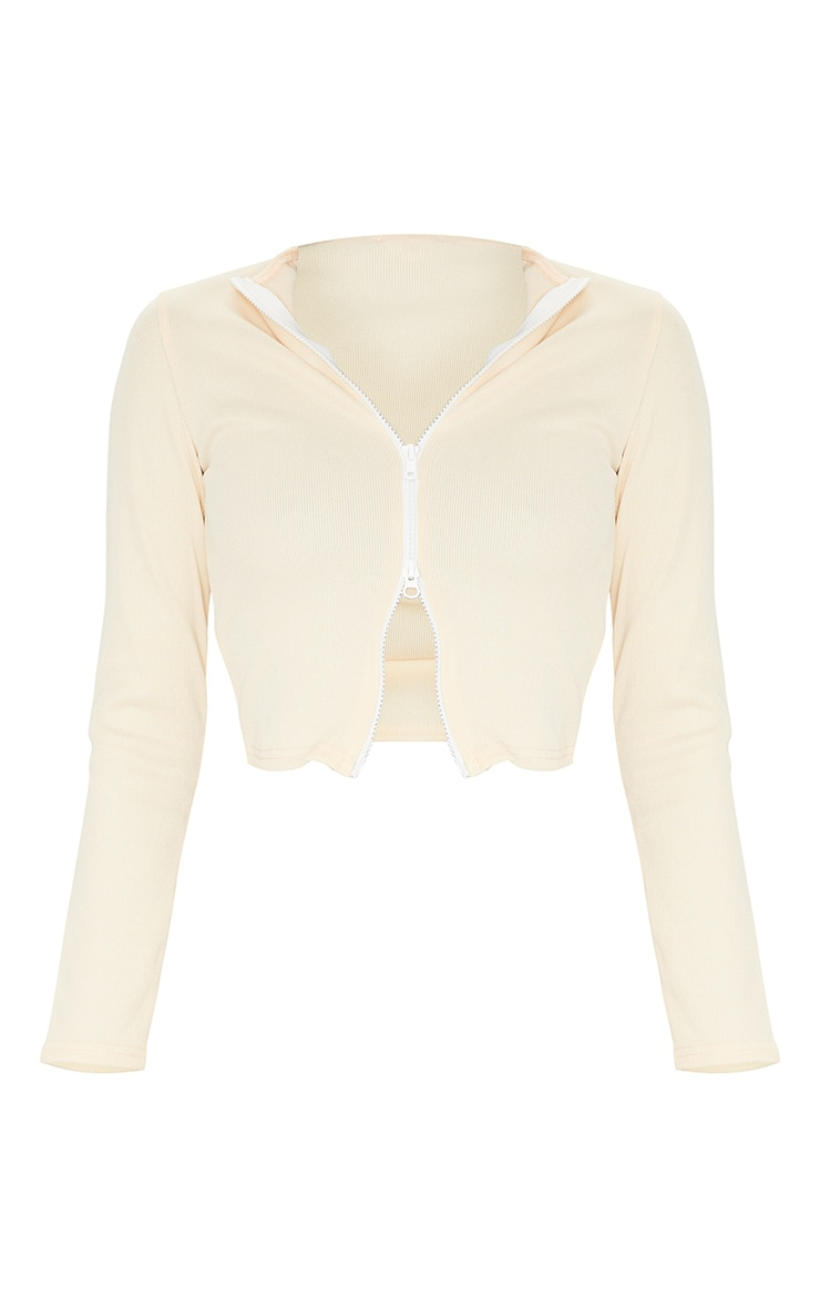 Tall Stone Structured Ribbed Double Zip Long Sleeve Top 5