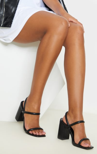 Black Wide Fit Chunky Block Heel Slingback Sandal