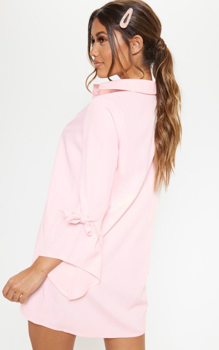 Baby Pink Tie Sleeve Shirt Dress 2