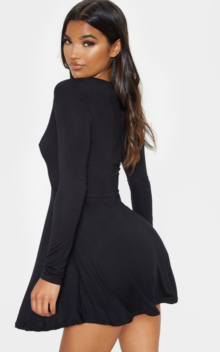 Black Jersey Wrap Long Sleeve Skater Dress 2