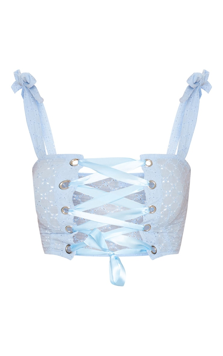 Blue Broderie Anglaise Lace up Crop Top 3