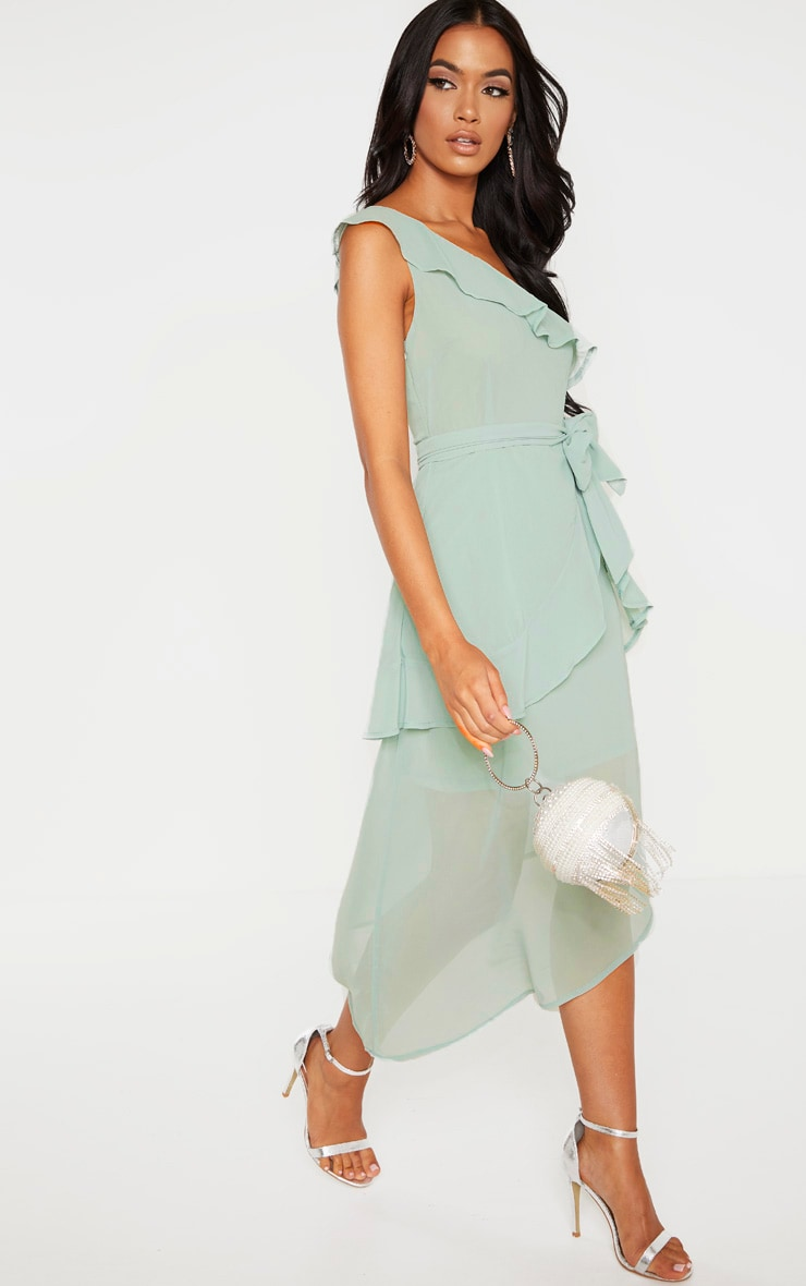 Sage Green Chiffon One Shoulder Midi Dress 4