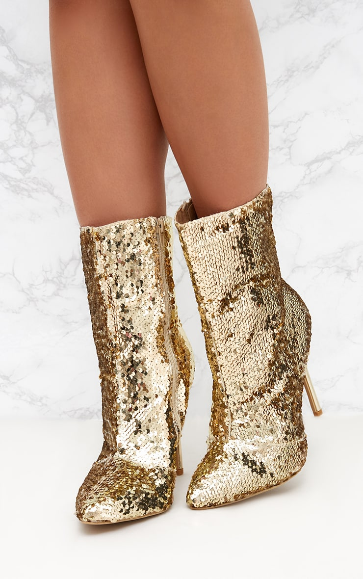 Gold Sequin Heeled Ankle Boot 2