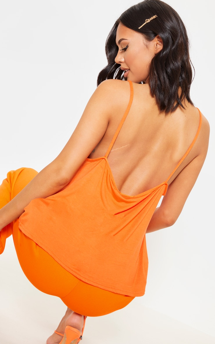 Basic Tangerine Jersey V Neck Swing Vest  5