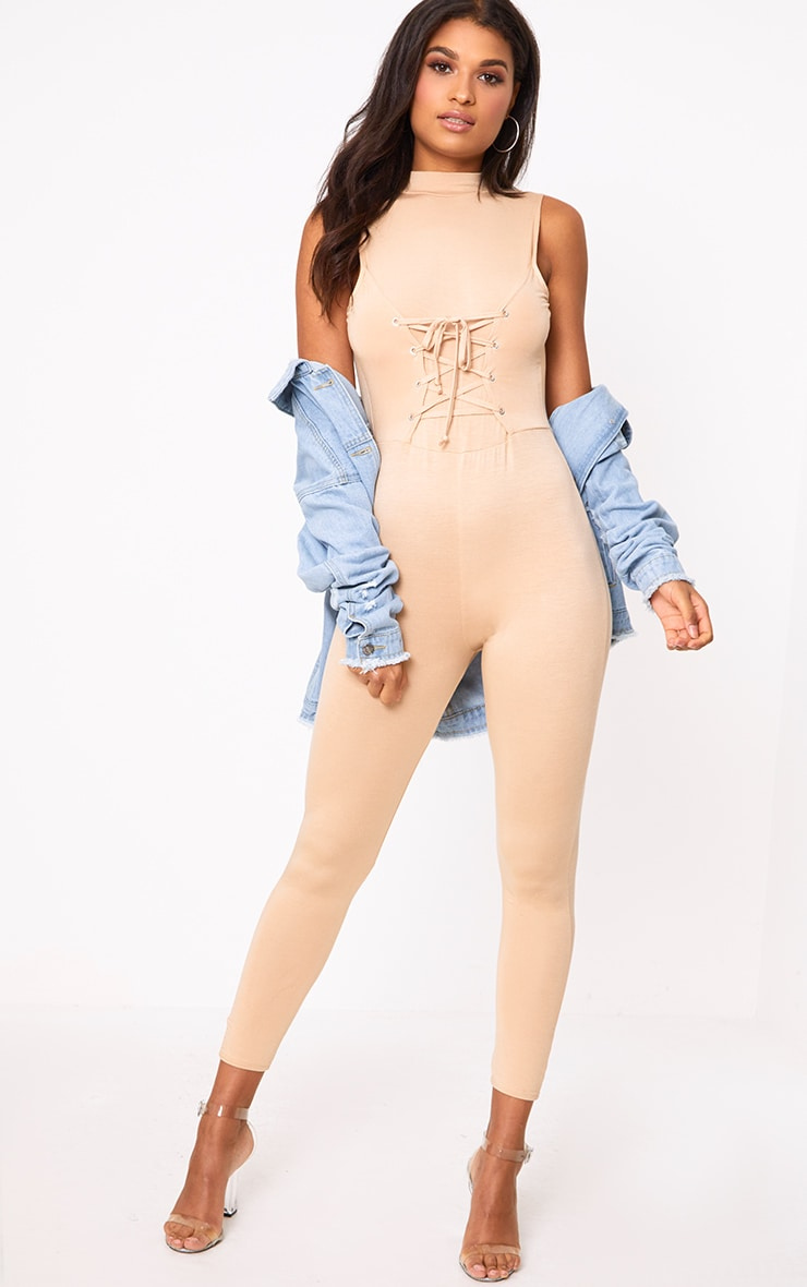Amani Nude Corset Front Jersey Jumpsuit  1