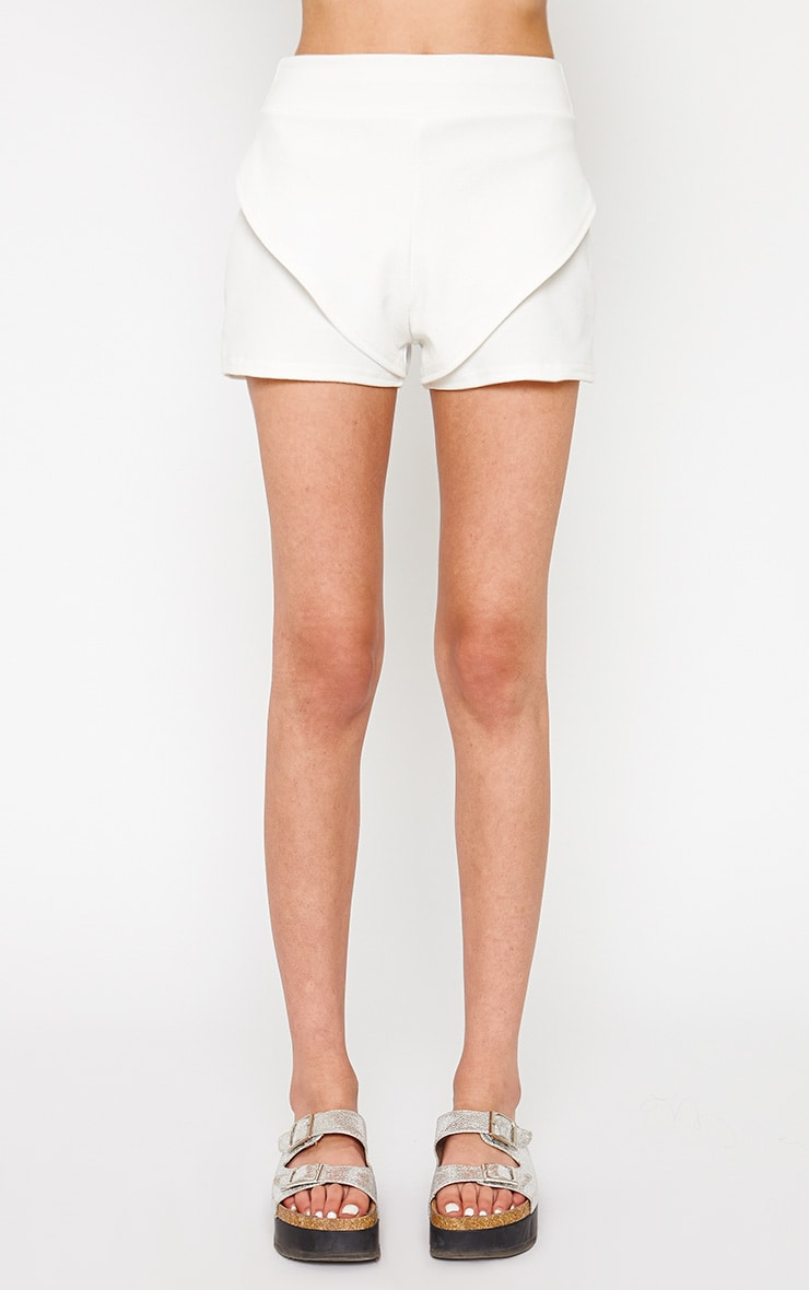 Devon Cream Wrap Detail Shorts 2