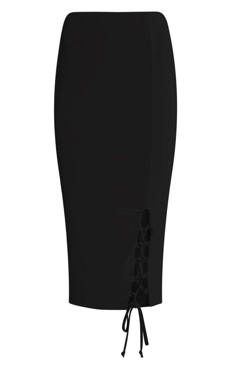 Ameria Black Lace Up Detail Midi Skirt 3