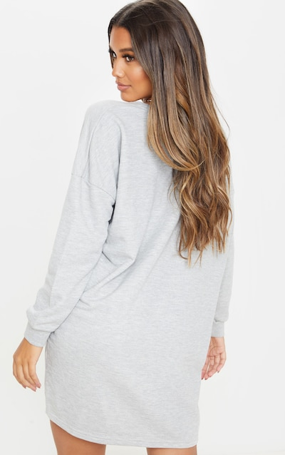 Grey Marl California Slogan Oversized Jumper Dress