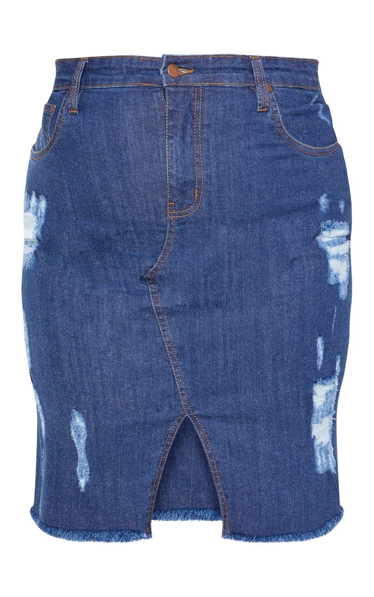 PLT Plus - Jupe mi-longue en jean moyennement délavé déchirée 3