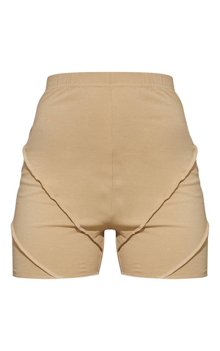 Latte Exposed Seam Cotton Hot Pants 6
