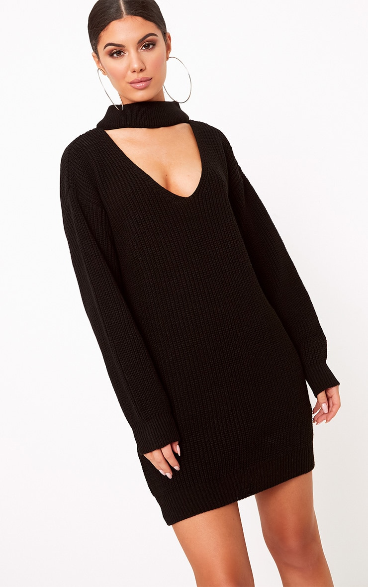 Ashleiyn Black Choker Detail Knitted Mini Dress 1