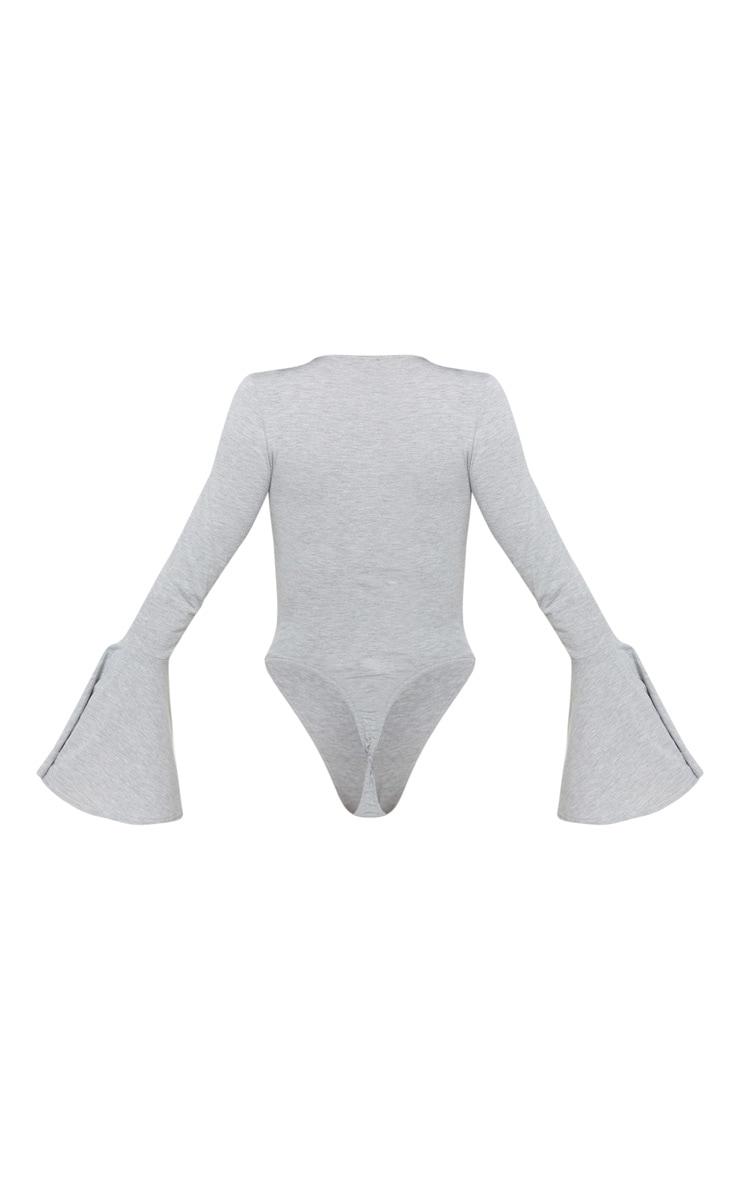 Grey Crochet Trim Plunge Flare Sleeve Bodysuit 4