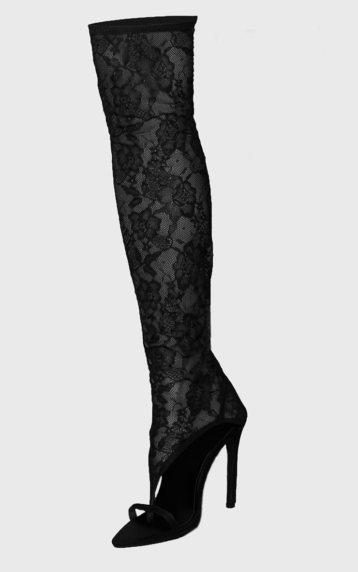 Black Lace Toe Thong Thigh High Heels 2