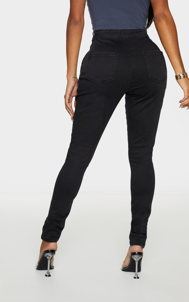 Shape Black Seam Detail Zip Side High Waist Skinny Jeans 3