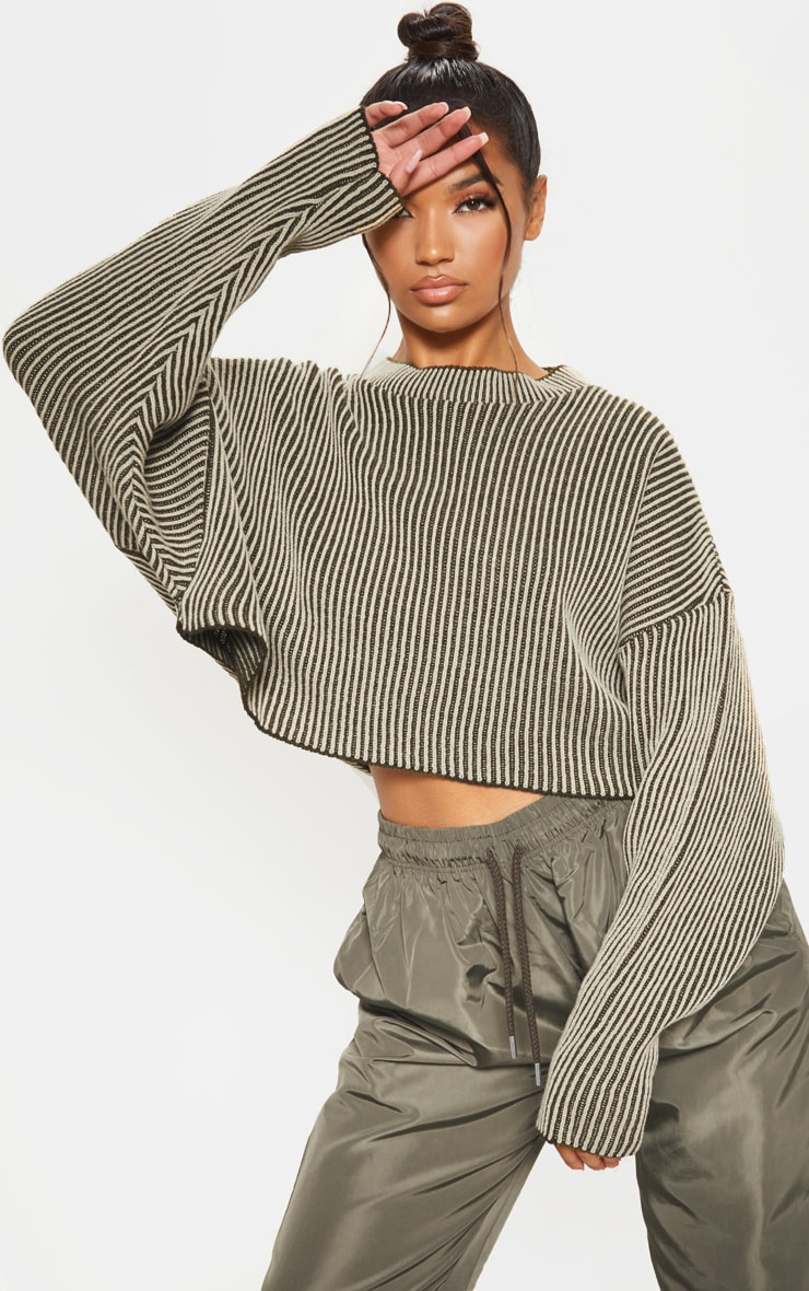 Stone Two Tone Knitted Batwing Jumper 1