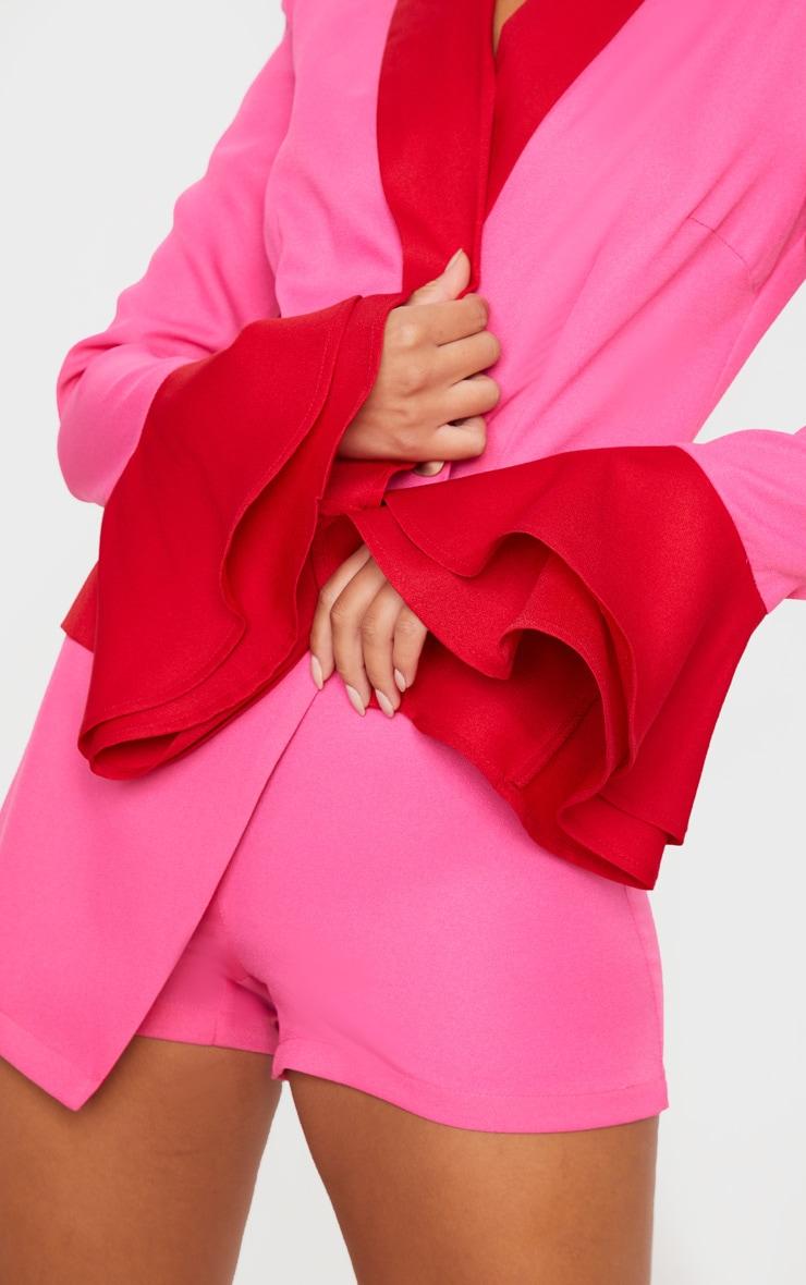 Pink Contrast Frill Sleeve Blazer Playsuit 5