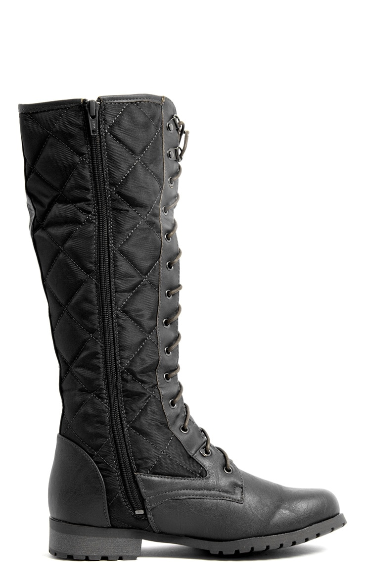 Kasey Black Quilted Lace Up Boot 2