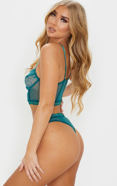 Emerald Lace Mesh Thong