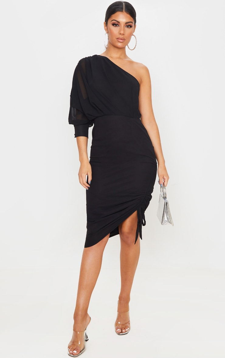 Black Ruched One Shoulder Tie Midi Dress 1