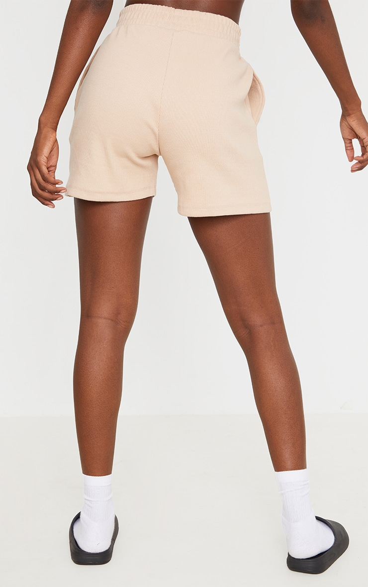 PRETTYLITTLETHING Tall Stone Ribbed Lounge Shorts 3