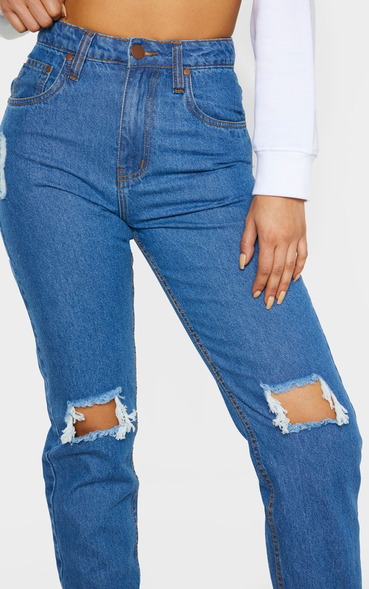 Tall Mid Wash Rip Knee Mom Jean 5
