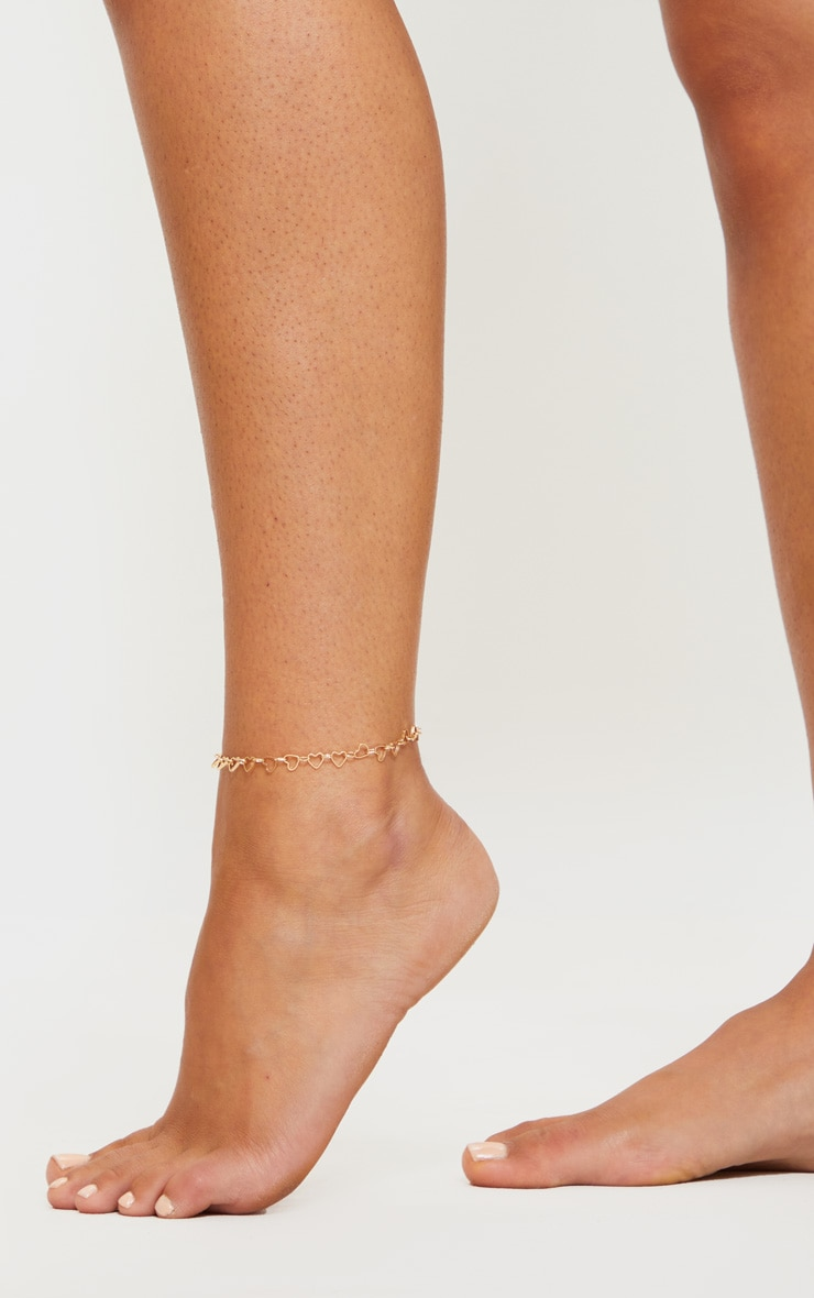 Gold Heart Chain Anklet 1