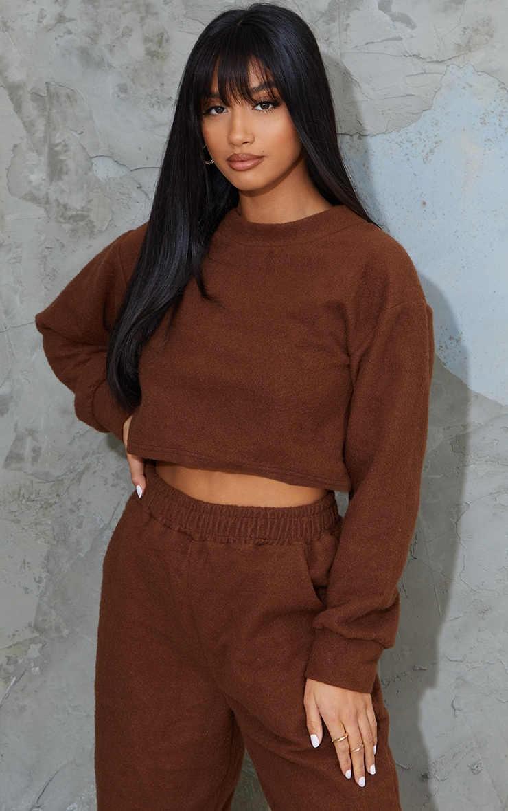 Petite Chocolate Brushed Sweat Oversized Sweater 1